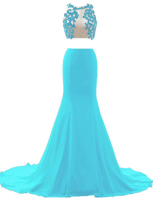 Amazon.com: JAEDEN Appliqued Two Piece Evening Dresses Long Sexy ...