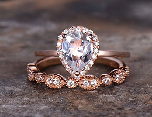 2pcs rose gold plated wedding ring set,Pear cut topaz Engagement ring,925 sterling silver stacking Bridal,marquise matching band,Man Made diamond CZ ring,any size