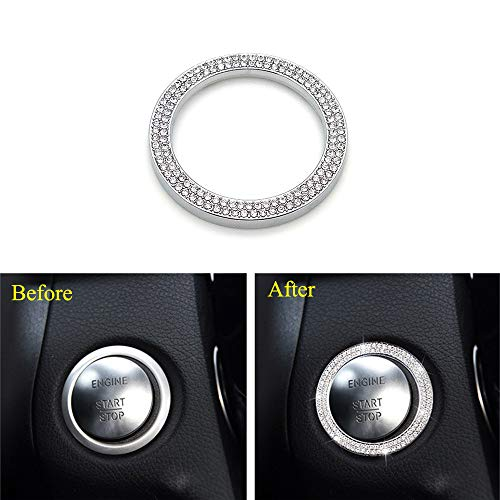 Thor-Ind Bling Crystal Push Start Stop Button Cover Trim Ring for Mercedes-Benz C class CLA GLC GLA 2015-up