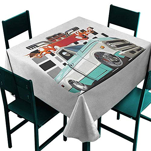 Sunnyhome Anti-Fading Tablecloths Truck Lowrider Pickup with Racing Flag Pattern Background Speeding on The Streets Modified for Banquet Decoration Dining Table Cover 54x54 Inch Multicolor