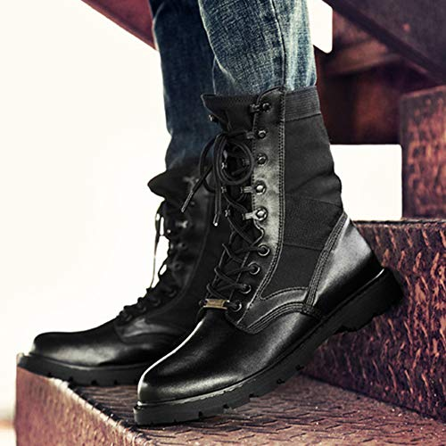 In Black Uomo Da Pizzo Allenamento Passeggio Martin Desert Scarpe Militare Vera Boot Scrub Casual Pelle Stivali Combattimento Escursione wAgUqq