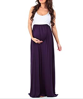 CAIYING Womens Sleeveless Maxi Maternity Dress Casual Ruched Color Block Tank Dresses