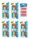 Paper Mate 1862166 Mates Mechanical Pencils, 1.3mm HB #2 Lead, 5 Pack, 25 Count Total and Pink Pearl Erasers, Medium, 3 Count