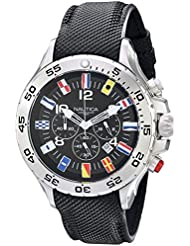 Nautica Mens N16553G Stainless Steel Watch with Black Band