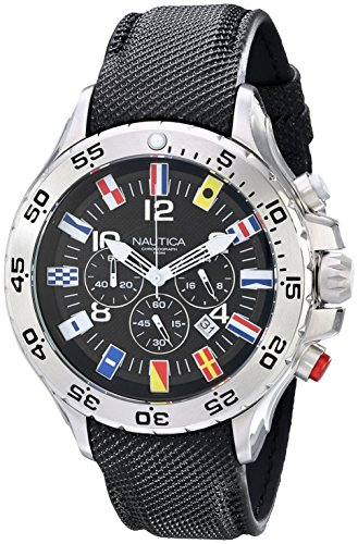 Nautica Men's N16553G Stainless Steel Watch with Black (Dial Flag Bezel)