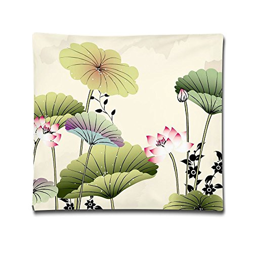 Square Throw Pillow Case Summer Lotus Leaf Butterfly Decorative Soft Pillow Cover Sets Cushion Case For Sofa Bedroom Car 18 X 18 Inch