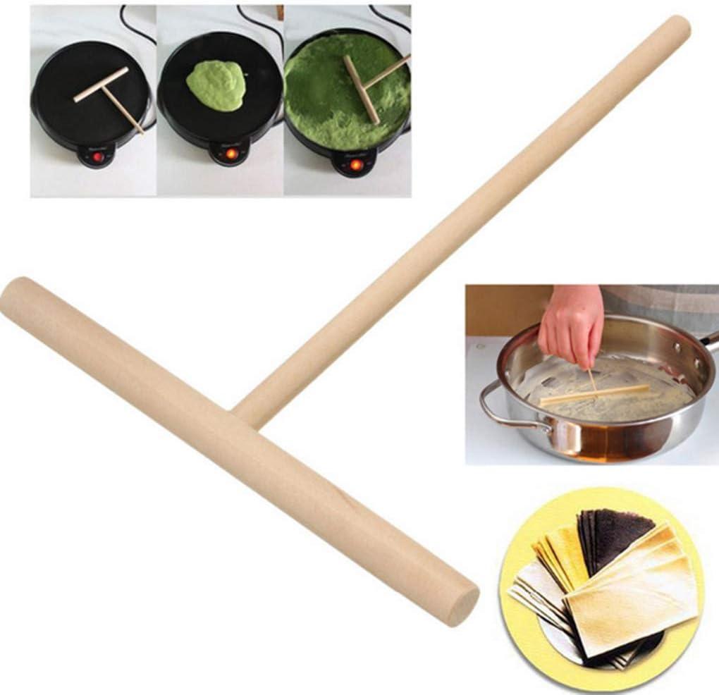 heacker 2pcs in Legno T-Shaped Cucina Fry Pasticceria Crepe Maker Leggero Pancake Batter Strumento Spatola Raschietto