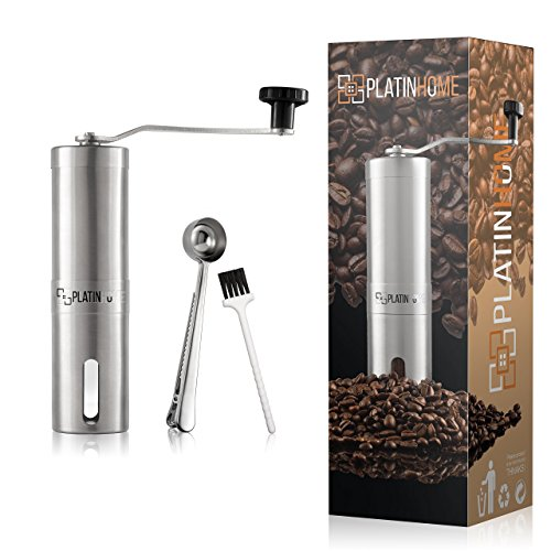 Stainless Steel Manual Coffee Grinder W/Ceramic Burr for Perfect Coffee Every Time - Quiet and Easy to Use, Perfect for Travel/Home - W/FREE Brush, Spoon, Pouch and E-book by PlatinHome by PlatinHome (Image #5)