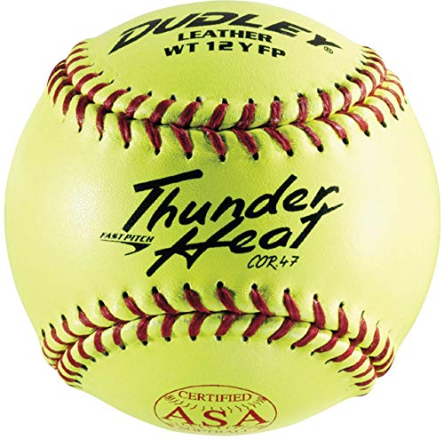 Dudley USSSA Thunder Heat Slow Pitch Classic M Stamp Softball - Leather Cover - 12 pack (Renewed)