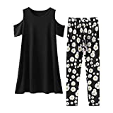 Chinatera Family Matching Clothes Mommy and Me Outfits Women Kids Short Sleeve Tops Floral Print Pants (Mom)