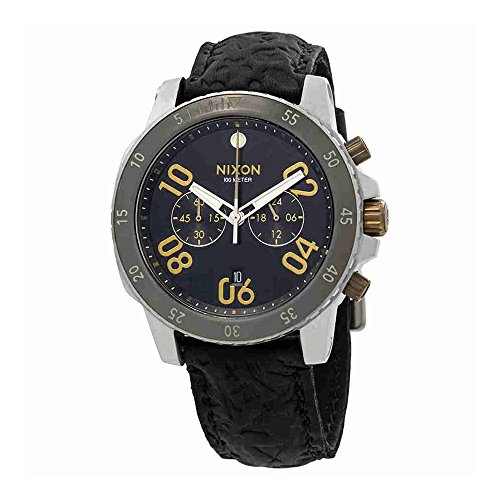 Chrono Leather Black/Brass Watch (Black Chrono Strap)