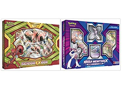 Pokemon Trading Card Game Scizor EX Box and Mega Mewtwo X Collection Bundle, 1 of Each