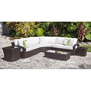 Source Outdoor Como Lago All-Weather Wicker 6 Piece Sectional Loveseat Conversation Set