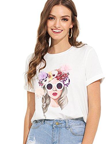 Milumia Women's Cute 3D Floral Print T Shirt Applique Figure Tee Small White-6