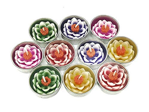 Jakapan Lotus Flower Candle in Tea Lights, Floating Candles, Scented Tea Lights, Aromatherapy Relax, Gift Set 10 -