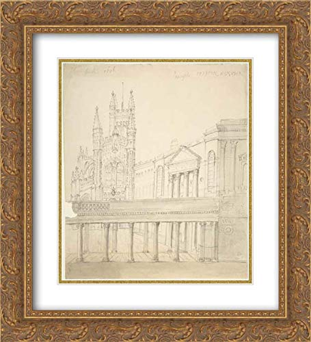 Anonymous Artist, British, 19th Century - 20x22 Gold Ornate Frame and Double Matted Museum Art Print - View of The Abbey and Great Pump Room at Bath, Through The Colonnade Added by Thomas Baldwin, 1