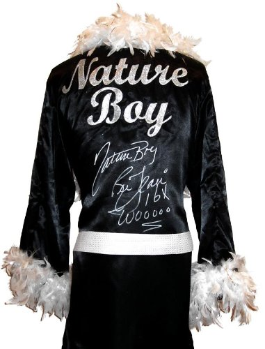 Ric Flair Signed Black Robe & White Feathers w/Nature Boy, 16x & Wooooo Inscription - Autographed Wrestling Robes, Trunks and Belts]()