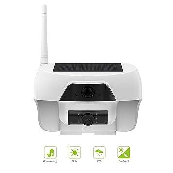 FREECAM cámara IP WiFi,cámara Solar Impermeable al Aire Libre sin Cables cámara de Seguridad a Prueba de Intemperie con detección de Movimiento y visión ...