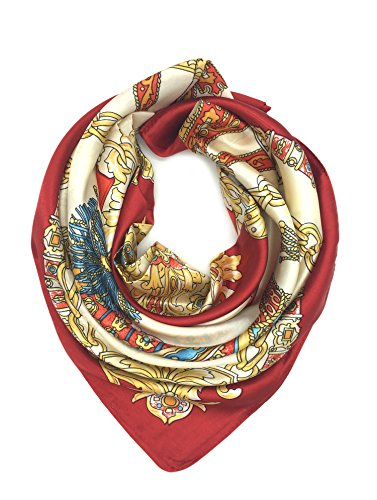 (YOUR SMILE Silk Like Scarf Women's Fashion Pattern Large Square Satin Headscarf Red Carriage)