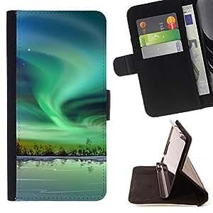 BullDog Case - FOR/Samsung Galaxy S4 IV I9500 / - / Nature Beautiful Forrest Green 56 /- Monedero de cuero de la PU Llevar cubierta de la caja con el ID Credit Card Slots Flip funda de cuer