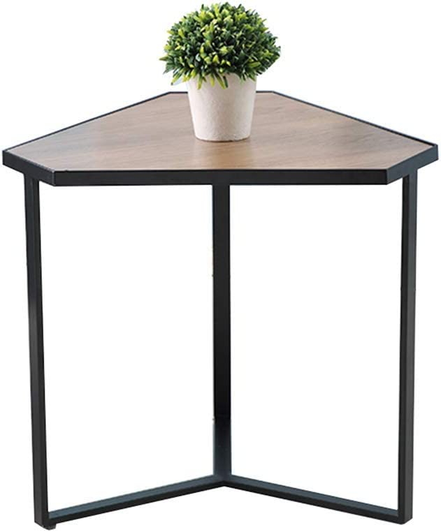 Home&Selected Furniture/Triangle Coffee Table End Side Tables Corner Table Wood with Metal Legs, Dark Brown, 50 x 50 x 48cm