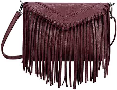 035d178adb49 HDE Women s PU Leather Hobo Fringe Crossbody Tassel Purse Vintage Small  Handbag