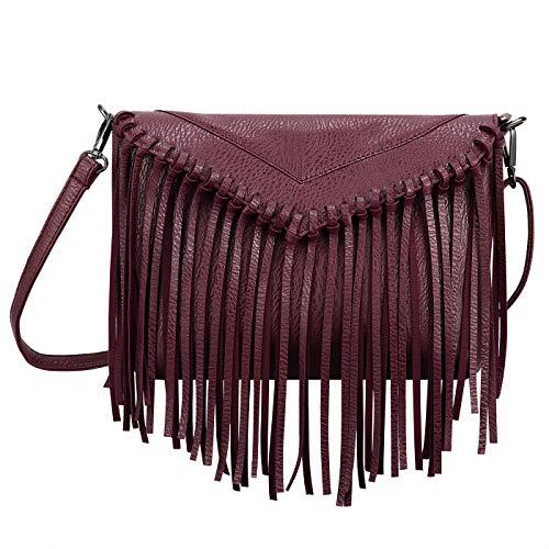 HDE Women's PU Leather Hobo Fringe Crossbody Tassel Purse Vintage Small Handbag