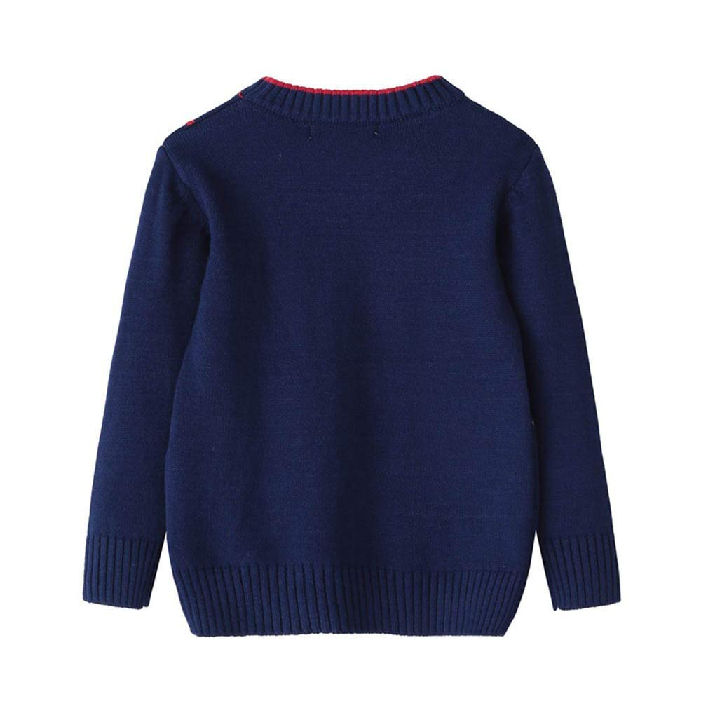 Jchen Infant Baby Kids Little Girl Knitted Sweater Geometry Sewing Warm Pocket Sweatshirt Tops for 1-6 Y TM