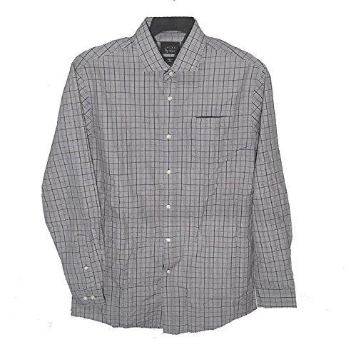 Jachs City Smart Mens Long Sleeve 80s Doubles Fine Shirting, Light Gray (Large)