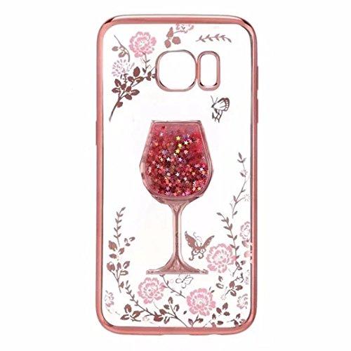 Galaxy J2 Prime Case, Goblet Wineglass [Secret Garden] Butterfly Floral Flower Diamonds Frame Plating Bumper Soft Flexible TPU Transparent Skin Case for Samsung Galaxy Grand Prime G530(Goblet Red)