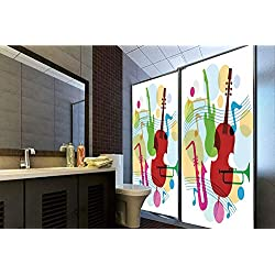 "Horrisophie dodo 3D Privacy Window Film No Glue,Jazz Music Decor,Colorful Music Template with Notes Equipment for Soul Classic Illustration Home Design,Multi,47.24"" H x 23.62"" W for Home&Office"