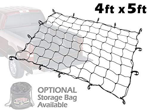 (4ft x 5ft PowerTye Mfg Truck & Trailer Large Elastic Cargo Net with 14 Adjustable Hooks, Black Net)