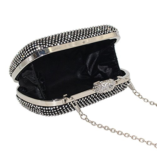 Box Bag Purse Evening Black Bag Gold Bridal Diamante Black Silver Party Prom Wocharm Encrusted Crystal Clutch Wedding Baguettes Shimmering wqpq8T