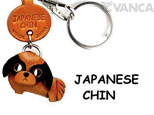 Japanese Chin Leather Dog Small Keychain VANCA CRAFT-Collectible Keyring Charm Pendant Made in Japan