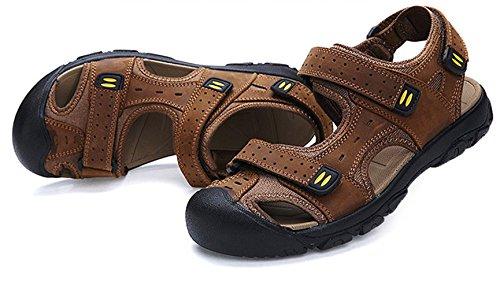 ... Liveinu Menns Skinn Sandaler Atletisk Sport Tett Tå Sandal Sommeren Gul