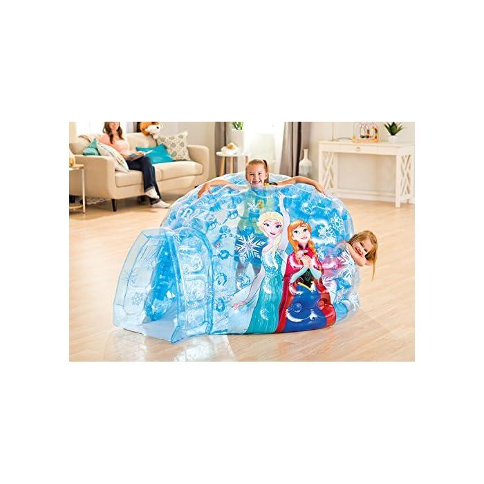 51n3SnG4gFL Iglú hinchable Frozen de Intex. Medidas del iglú: 185x157x107 cm Iglú fabricado con vinilo muy resistente y de color azul transparente para mayor seguridad de los niños Incluye 12 pelotas de colores de Fun Ballz de 6,5 cm para encajarlas en los agujeros interiores del iglú