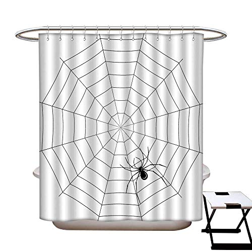 homecoco Spider Web Anti Bacterial Shower Curtain Liner Toxic Poisonous Insect Thread Crawly Malicious Bug Halloween Character Design Water Repellent & Stain Resistant Black -