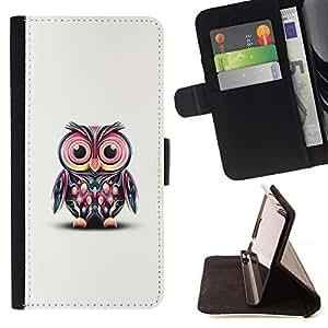 For Sony Xperia Style T3 Case , Rosa del arte del búho colorido personaje de dibujos animados- la tarjeta de Crédito Slots PU Funda de cuero Monedero caso cubierta de piel