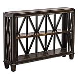 Rustic Black Open Geometric Console Table | Contemporary Fretwork Sofa
