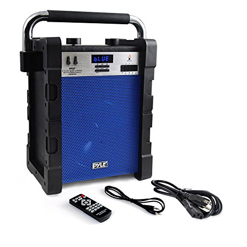 Wireless Portable PA Speaker System - 100W Outdoor Waterproof Weatherproof Battery Powered Rechargeable Speaker - Bluetooth MP3 USB Micro SD FM Radio AUX Microphone Input - Pyle PWMABT550BL (Blue)