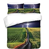 iPrint 3Pcs Duvet Cover Set,Lake House Decor,Summer Storm About to Appear with Flash on The Field Solar Illumination Energy Decor,Green Blue,Best Bedding Gifts for Family/Friends