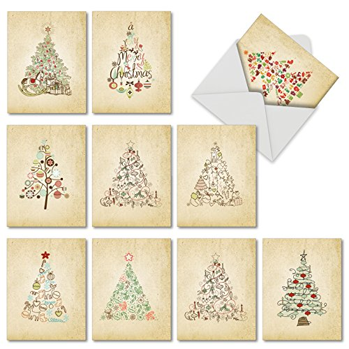 M6648XSB Retro Tannenbaum: 10 Assorted Blank Christmas Note Cards Featuring Various Christmas Tree Styles Selectively Hued with Retro Mid Century Color Palette, w/White Envelopes.
