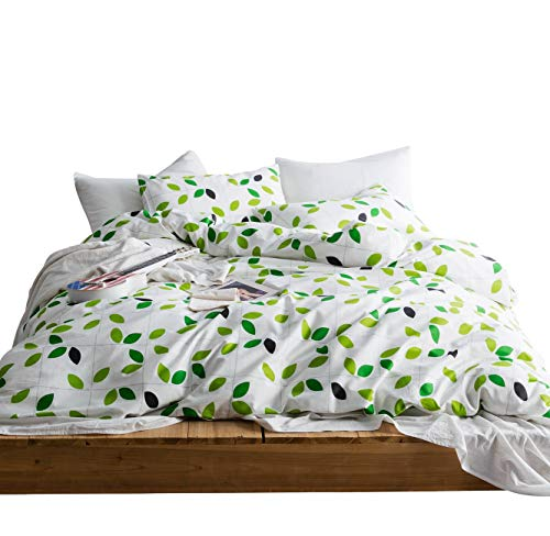 SUSYBAO 3 Pieces Duvet Cover Set 100% Natural Cotton White King Size Green Leaves Print Bedding Set with Zipper Ties 1 Gray Checkered Duvet Cover 2 Pillowcases Hotel Quality Soft Comfortable Durable (Cover Duvet And White Green)