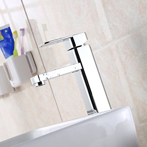 Hlluya Professional Sink Mixer Tap Kitchen Faucet Square bench pots of hot and cold taps, bathroom basin, the brass body heavy water faucet