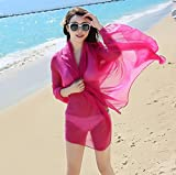 Onlineb2c Women's Long Lmitated Silk Scarf Solid Color Beach Towel Rose