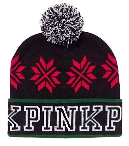 's Secret Pink Beanie Pompom Hat Black Holiday 2017 One Size Fits All ()
