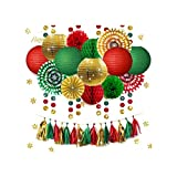 31 pcs/Set Gold Green Red Paper Lanterns Fans Flowers Tissue Tassel Garland Confetti Birthday Party Decoration DIY