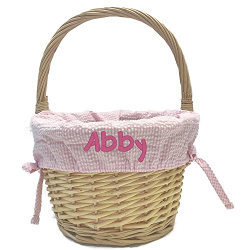 Custom Embroidered Natural Easter Basket with Liner -