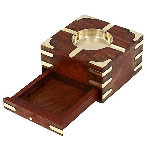 Aheli Wooden Smoking Ashtray for 4 Cigarette Outdoor Square Ash Tray for Car Home Office with Storage Case Box Decorative Brass Inlay