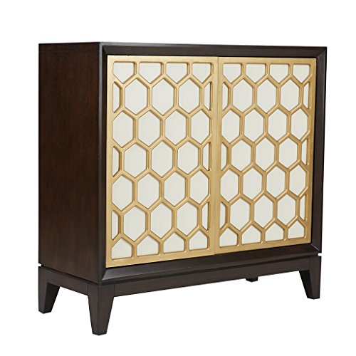 Madison Park Accent Cabinet Honeycomb/White/Ebony For Sale
